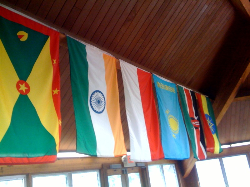 some of the flags already flying high in the CLC dining hall
