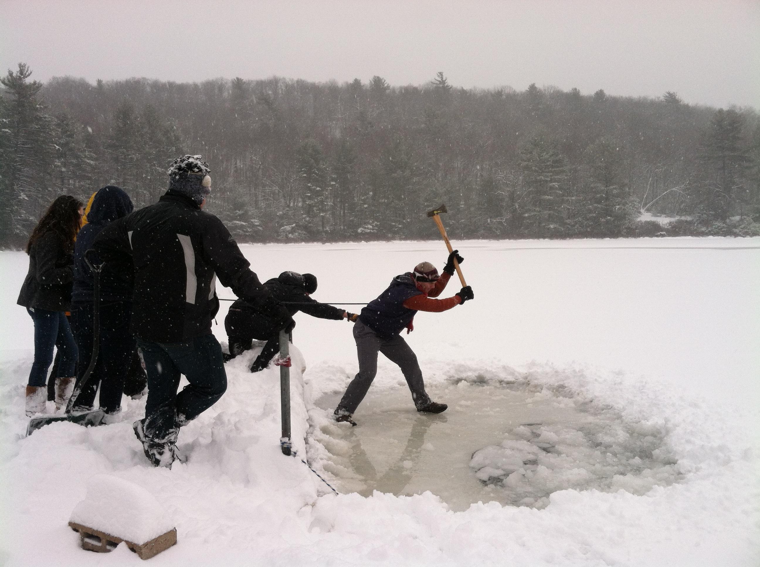 CLC Blog Polar Plunge Challenge Alex Cook Choppin Ice Pic