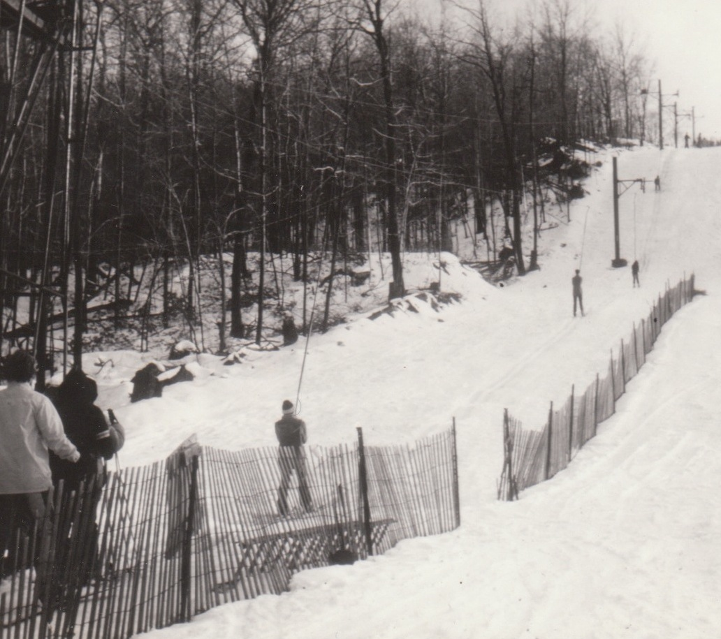 Old photo of the ski slopes at CLC.